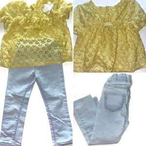 Girls Size 4T Outfit Yellow Shirt & Pants Set